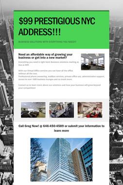 $99 PRESTIGIOUS NYC ADDRESS!!!