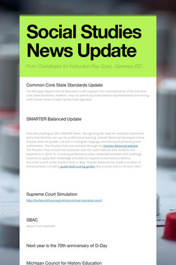 Social Studies News Update