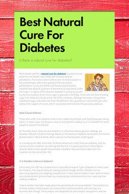Best Natural Cure For Diabetes