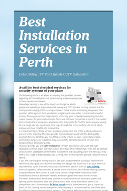Best Installation Services in Perth