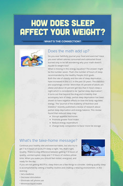 How does sleep affect your weight?