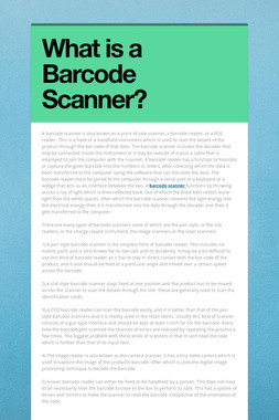 What is a Barcode Scanner?