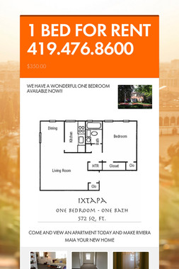 1 BED FOR RENT 419.476.8600