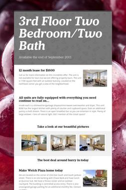 3rd Floor Two Bedroom/Two Bath