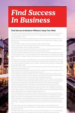 Find Success In Business