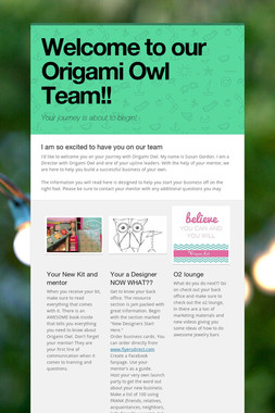 Welcome to our Origami Owl Team!!