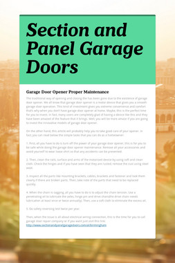 Section and Panel Garage Doors