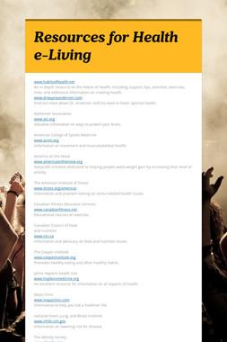 Resources for Health e-Living
