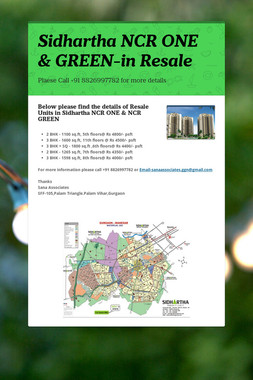 Sidhartha NCR ONE & GREEN-in Resale