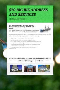 $79 BIG BIZ ADDRESS AND SERVICES