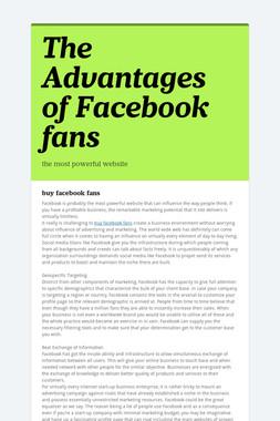 The Advantages of Facebook fans