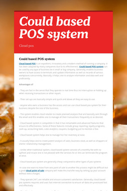 Could based POS system