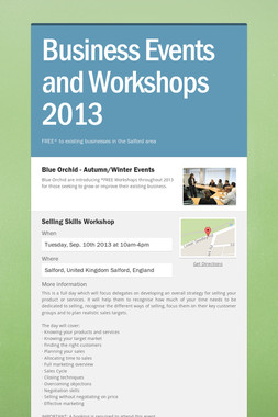 Business Events and Workshops 2013