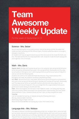 Team Awesome Weekly Update