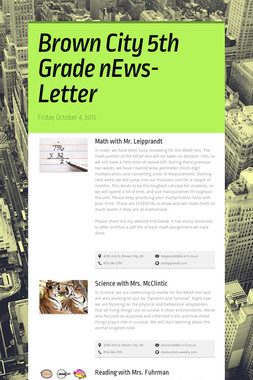 Brown City 5th Grade nEws-Letter