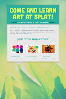 Come and learn art at SPLAT!