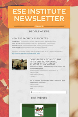 ESE Institute Newsletter