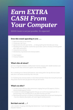 Earn EXTRA CASH From Your Computer