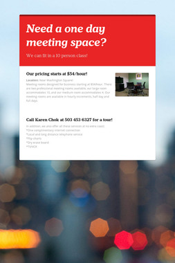 Need a one day meeting space?