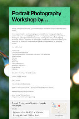 Portrait Photography Workshop by…