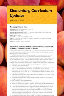 Elementary Curriculum Updates