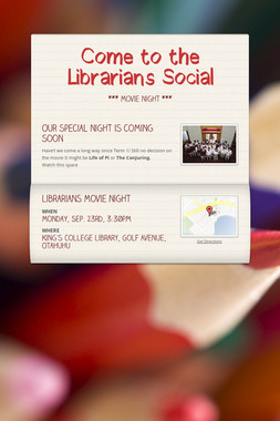 Come to the Librarians Social