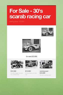 For Sale - 30's scarab racing car