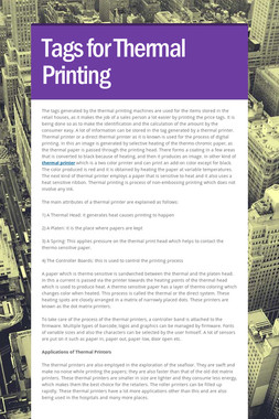 Tags for Thermal Printing