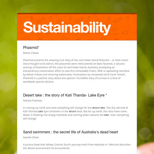 Picture books- Sustainability