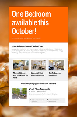 One Bedroom available this October!