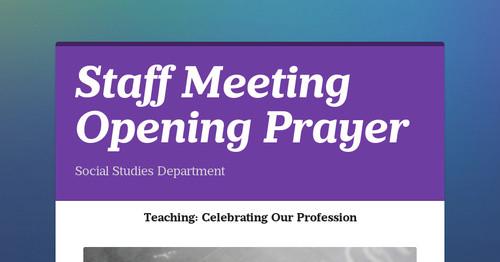 Staff Meeting Opening Prayer | Smore Newsletters