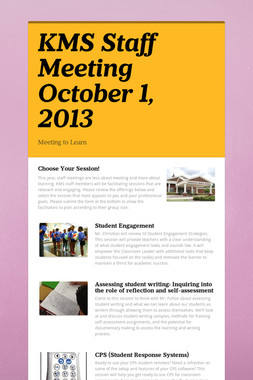 KMS Staff Meeting October 1, 2013