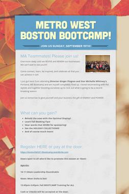 Metro West Boston Bootcamp!