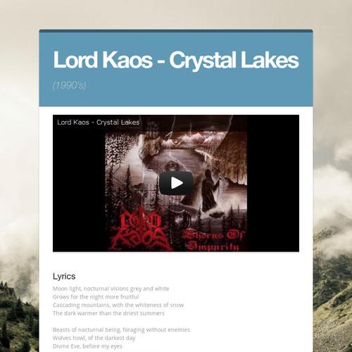Lord Kaos - Crystal Lakes