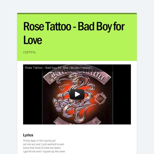 Rose Tattoo - Bad Boy for Love