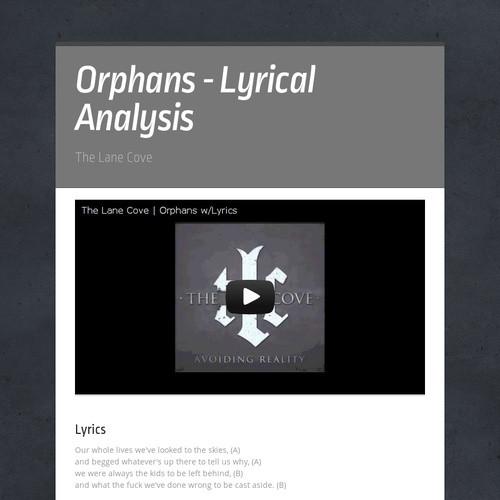 Orphans - Lyrical Analysis