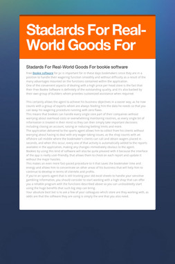 Stadards For Real-World Goods For