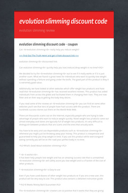 evolution slimming discount code