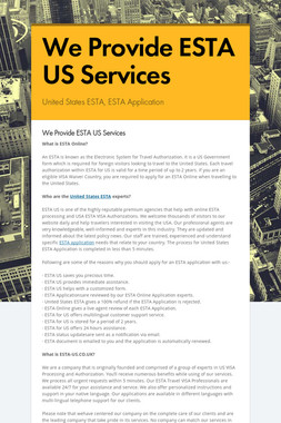 We Provide ESTA US Services