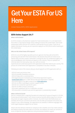 Get Your ESTA For US Here