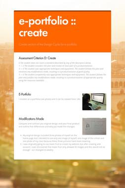 e-portfolio :: create