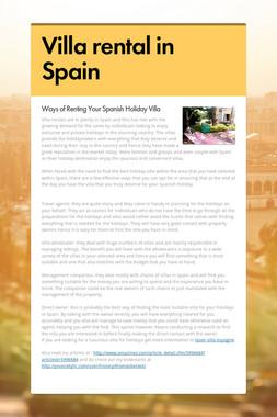 Villa rental in Spain