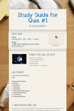 Study Guide for Quiz #1