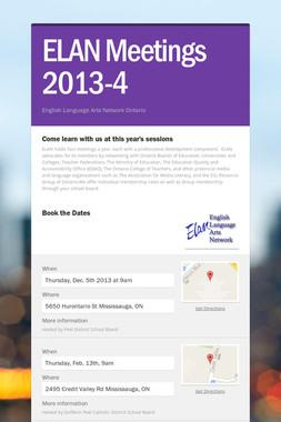 ELAN Meetings 2013-4