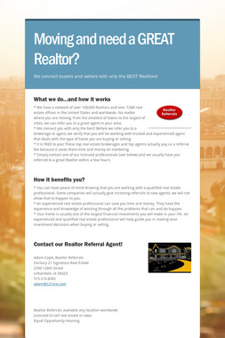 Moving and need a GREAT Realtor?