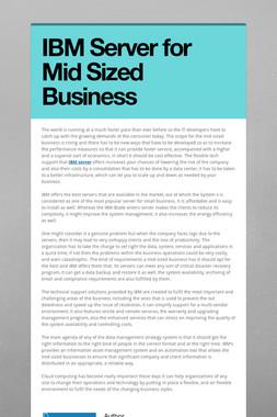 IBM Server for Mid Sized Business