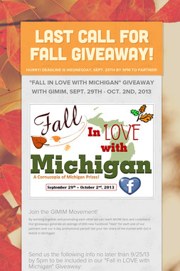 Last Call for Fall Giveaway!
