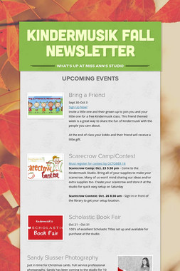 Kindermusik Fall Newsletter