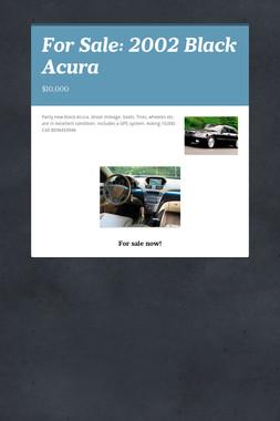 For Sale: 2002 Black Acura