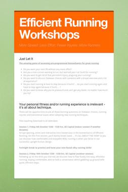 Efficient Running Workshops